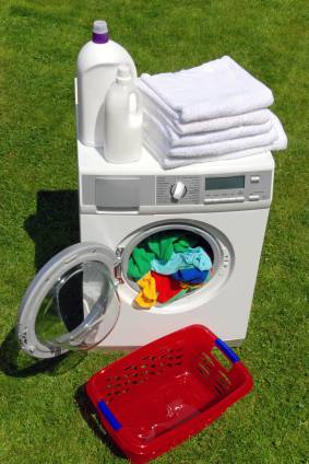 laundry and washer outside
